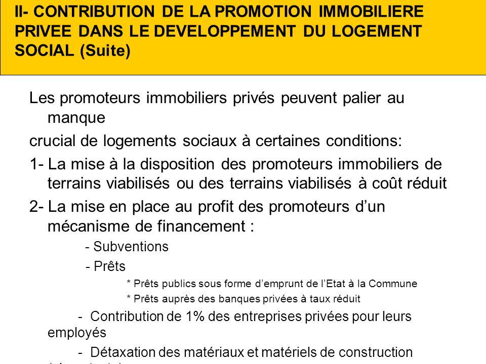 II- CONTRIBUTION DE LA PROMOTION IMMOBILIERE PRIVEE DANS LE DEVELOPPEMENT DU LOGEMENT SOCIAL (Suite) Les promoteurs immobiliers privés peuvent palier