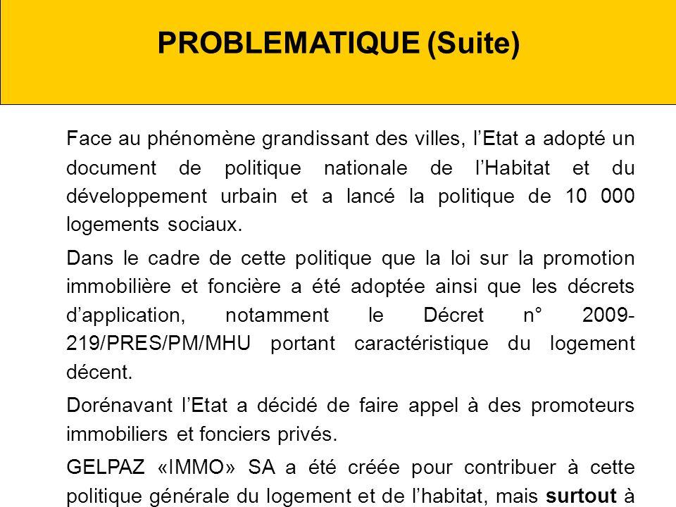 PROBLEMATIQUE (Suite) Face au phénomène grandissant des villes, lEtat a adopté un document de politique nationale de lHabitat et du développement urbain et a lancé la politique de 10 000 logements sociaux.