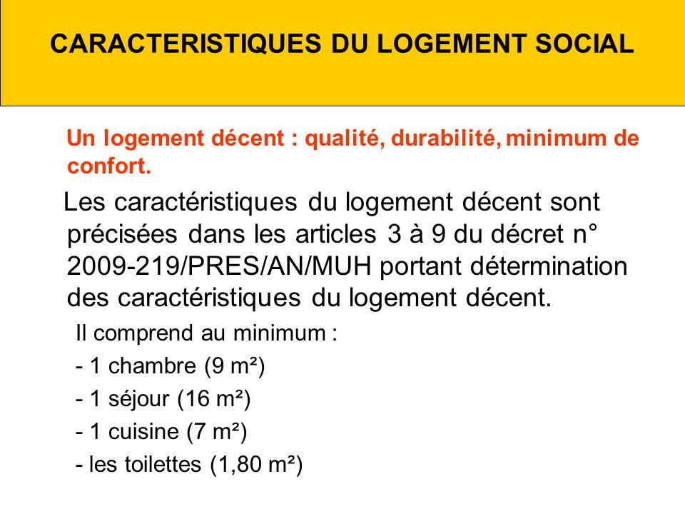 CARACTERISTIQUES DU LOGEMENT SOCIAL Un logement décent : qualité, durabilité, minimum de confort.