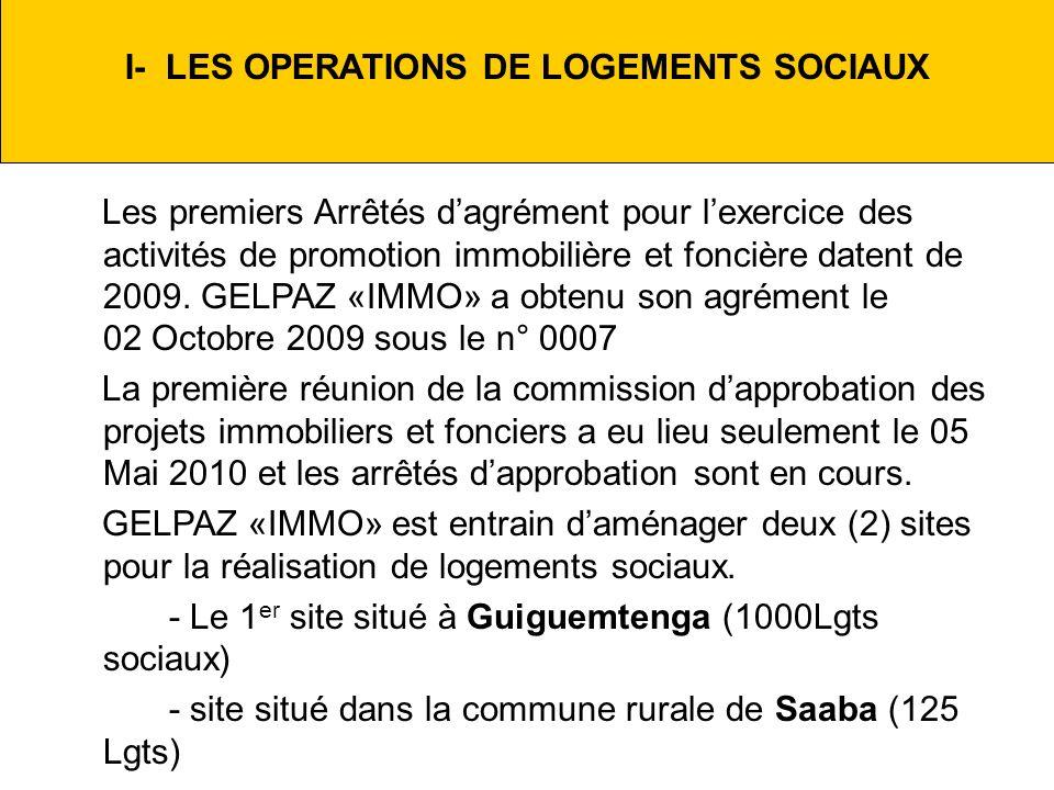 I- LES OPERATIONS DE LOGEMENTS SOCIAUX Les premiers Arrêtés dagrément pour lexercice des activités de promotion immobilière et foncière datent de 2009.