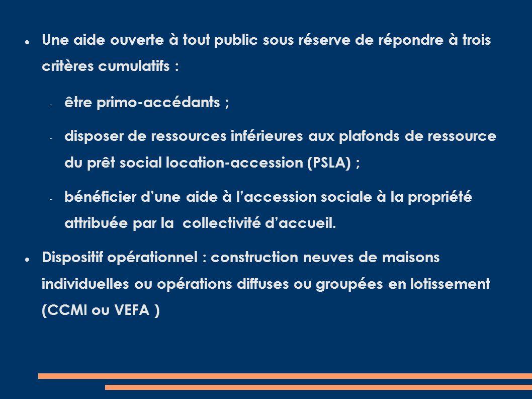 Une aide ouverte à tout public sous réserve de répondre à trois critères cumulatifs : être primo-accédants ; disposer de ressources inférieures aux plafonds de ressource du prêt social location-accession (PSLA) ; bénéficier dune aide à laccession sociale à la propriété attribuée par la collectivité daccueil.