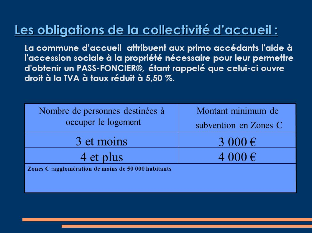 Les obligations de la collectivité daccueil : La commune daccueil attribuent aux primo accédants l aide à l accession sociale à la propriété nécessaire pour leur permettre d obtenir un PASS-FONCIER®, étant rappelé que celui-ci ouvre droit à la TVA à taux réduit à 5,50 %.