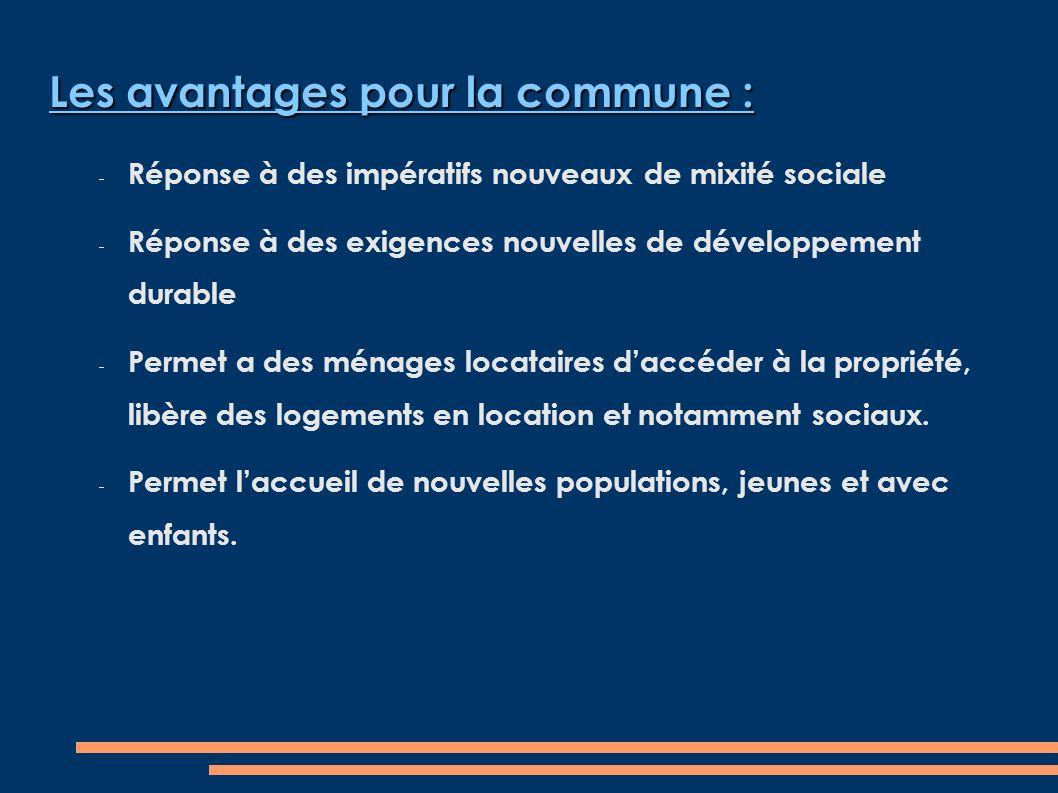 Les avantages pour la commune : Réponse à des impératifs nouveaux de mixité sociale Réponse à des exigences nouvelles de développement durable Permet a des ménages locataires daccéder à la propriété, libère des logements en location et notamment sociaux.
