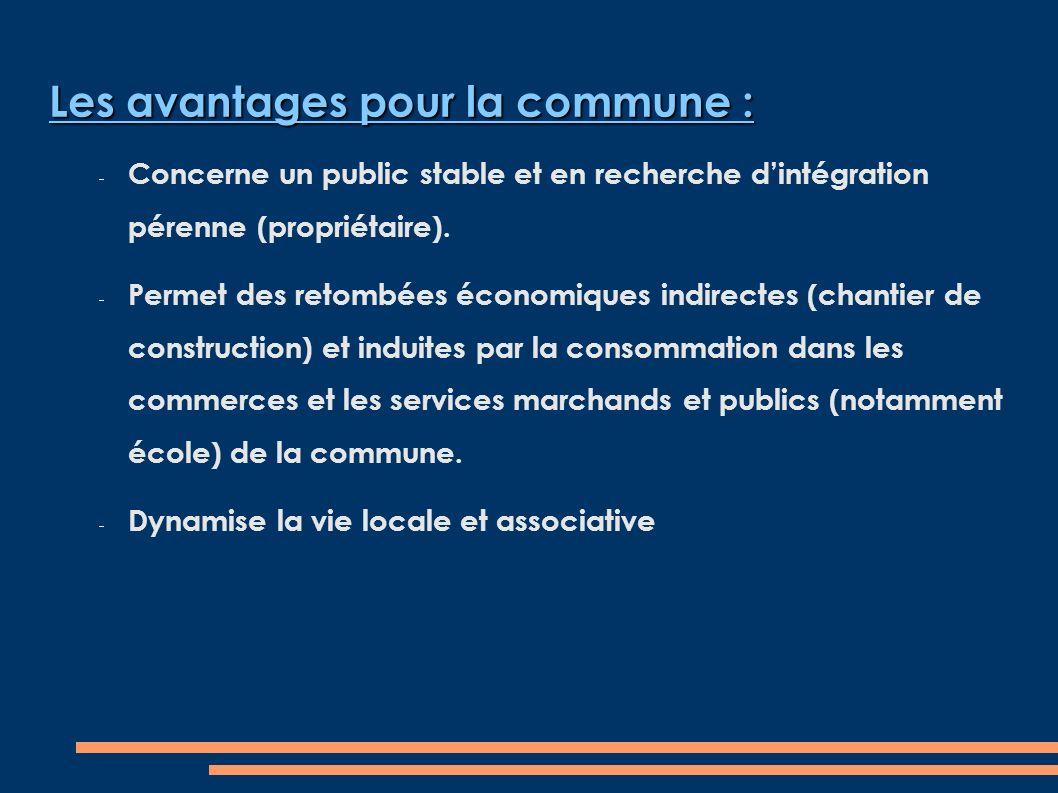 Les avantages pour la commune : Concerne un public stable et en recherche dintégration pérenne (propriétaire).