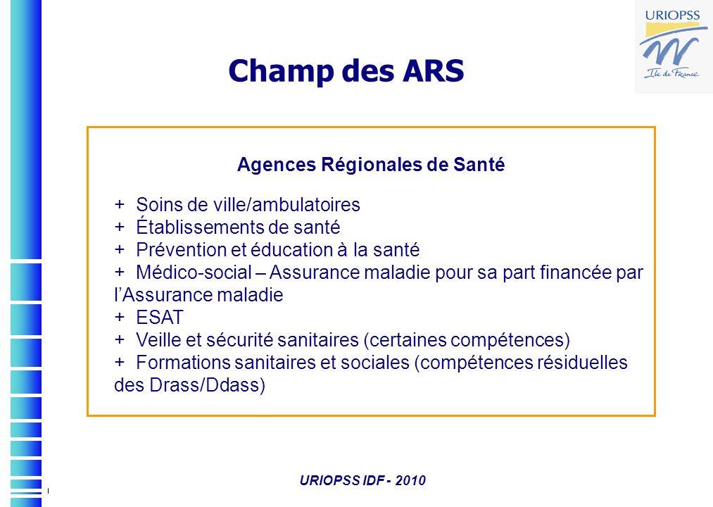 URIOPSS IDF - 2010 Agences Régionales de Santé + Soins de ville/ambulatoires + Établissements de santé + Prévention et éducation à la santé + Médico-s