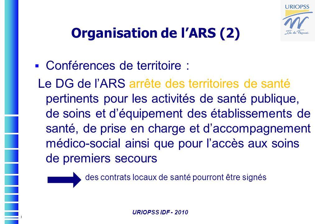 URIOPSS IDF - 2010 Organisation de lARS (2) Conférences de territoire : Le DG de lARS arrête des territoires de santé pertinents pour les activités de