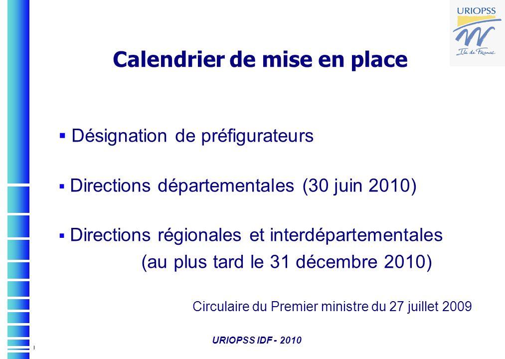 URIOPSS IDF - 2010 Désignation de préfigurateurs Directions départementales (30 juin 2010) Directions régionales et interdépartementales (au plus tard