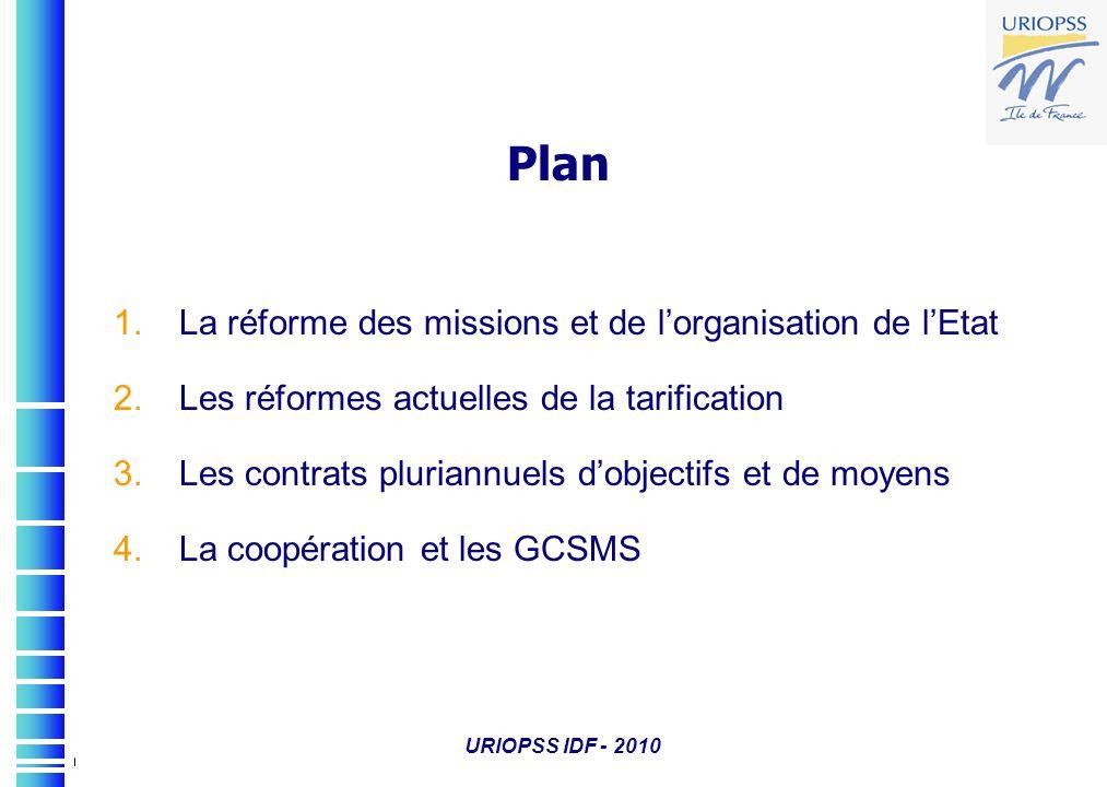 Plan 1.La réforme des missions et de lorganisation de lEtat 2.Les réformes actuelles de la tarification 3.Les contrats pluriannuels dobjectifs et de m