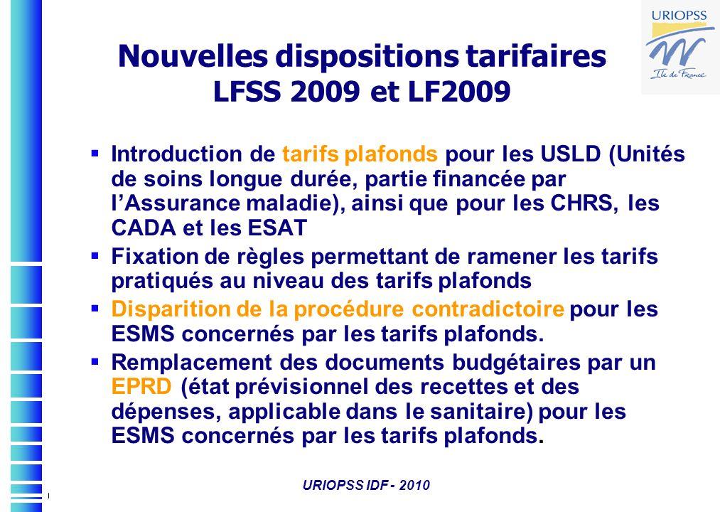 URIOPSS IDF - 2010 Nouvelles dispositions tarifaires LFSS 2009 et LF2009 Introduction de tarifs plafonds pour les USLD (Unités de soins longue durée,