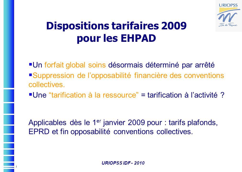 URIOPSS IDF - 2010 Dispositions tarifaires 2009 pour les EHPAD Un forfait global soins désormais déterminé par arrêté Suppression de lopposabilité fin