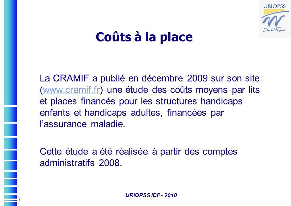 Coûts à la place La CRAMIF a publié en décembre 2009 sur son site (www.cramif.fr) une étude des coûts moyens par lits et places financés pour les stru