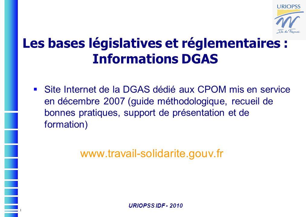 Site Internet de la DGAS dédié aux CPOM mis en service en décembre 2007 (guide méthodologique, recueil de bonnes pratiques, support de présentation et