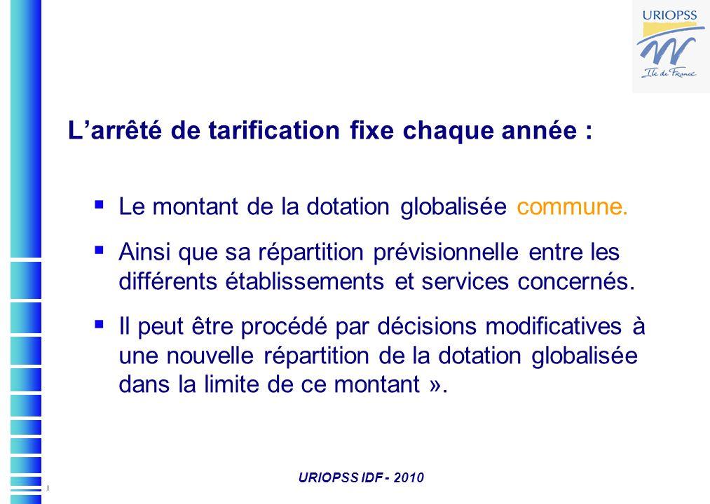 URIOPSS IDF - 2010 Larrêté de tarification fixe chaque année : Le montant de la dotation globalisée commune. Ainsi que sa répartition prévisionnelle e