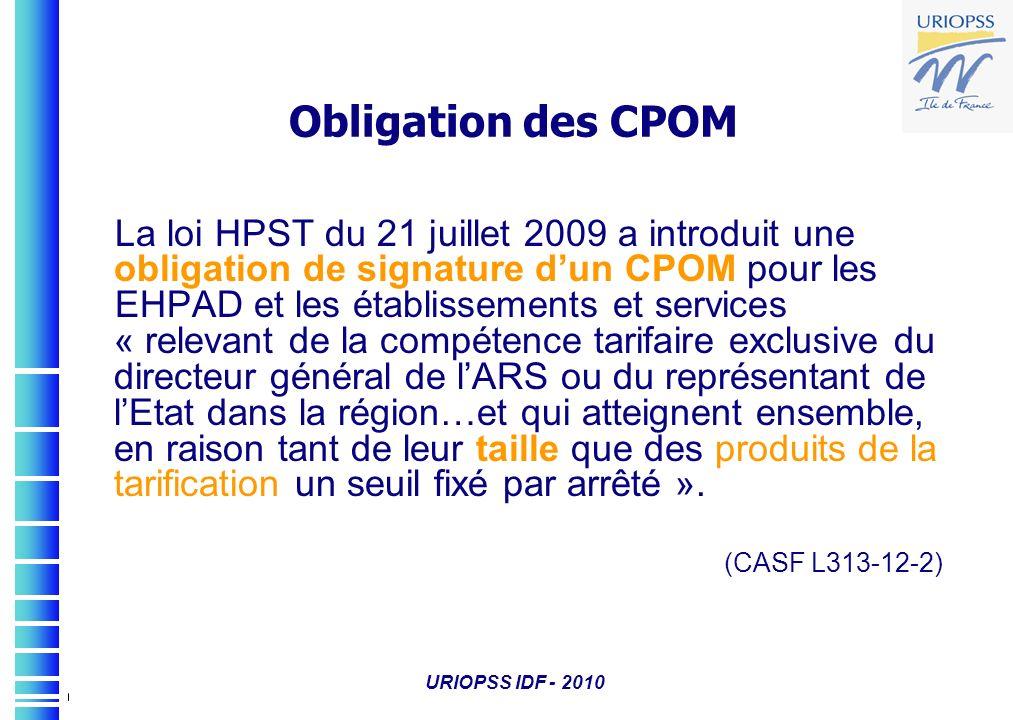 URIOPSS IDF - 2010 Obligation des CPOM La loi HPST du 21 juillet 2009 a introduit une obligation de signature dun CPOM pour les EHPAD et les établisse