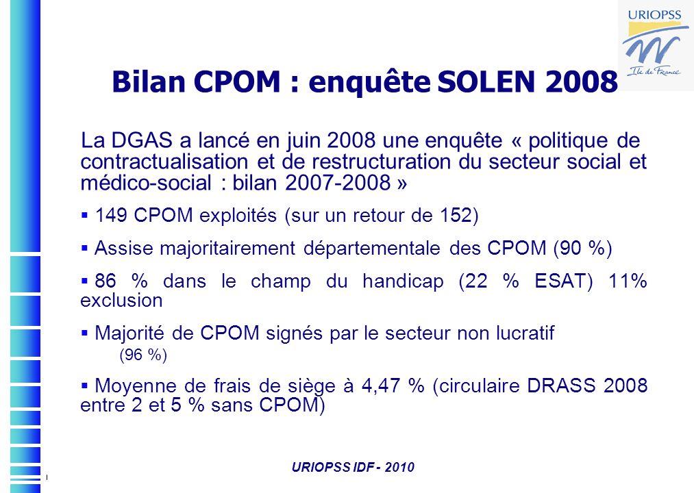 URIOPSS IDF - 2010 Bilan CPOM : enquête SOLEN 2008 La DGAS a lancé en juin 2008 une enquête « politique de contractualisation et de restructuration du