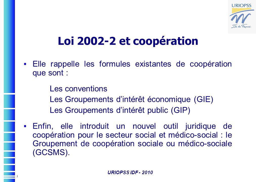 Loi 2002-2 et coopération Elle rappelle les formules existantes de coopération que sont : Les conventions Les Groupements dintérêt économique (GIE) Le