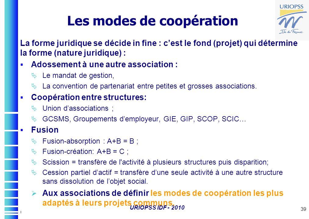 URIOPSS IDF - 2010 39 Les modes de coopération La forme juridique se décide in fine : cest le fond (projet) qui détermine la forme (nature juridique)