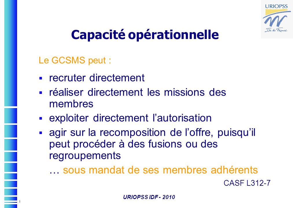 URIOPSS IDF - 2010 Capacité opérationnelle Le GCSMS peut : recruter directement réaliser directement les missions des membres exploiter directement la