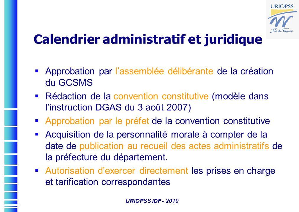 URIOPSS IDF - 2010 Calendrier administratif et juridique Approbation par lassemblée délibérante de la création du GCSMS Rédaction de la convention con