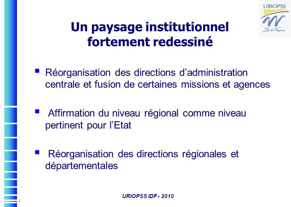 URIOPSS IDF - 2010 Réorganisation des directions dadministration centrale et fusion de certaines missions et agences Affirmation du niveau régional co