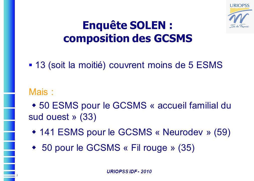 URIOPSS IDF - 2010 Enquête SOLEN : composition des GCSMS 13 (soit la moitié) couvrent moins de 5 ESMS Mais : 50 ESMS pour le GCSMS « accueil familial