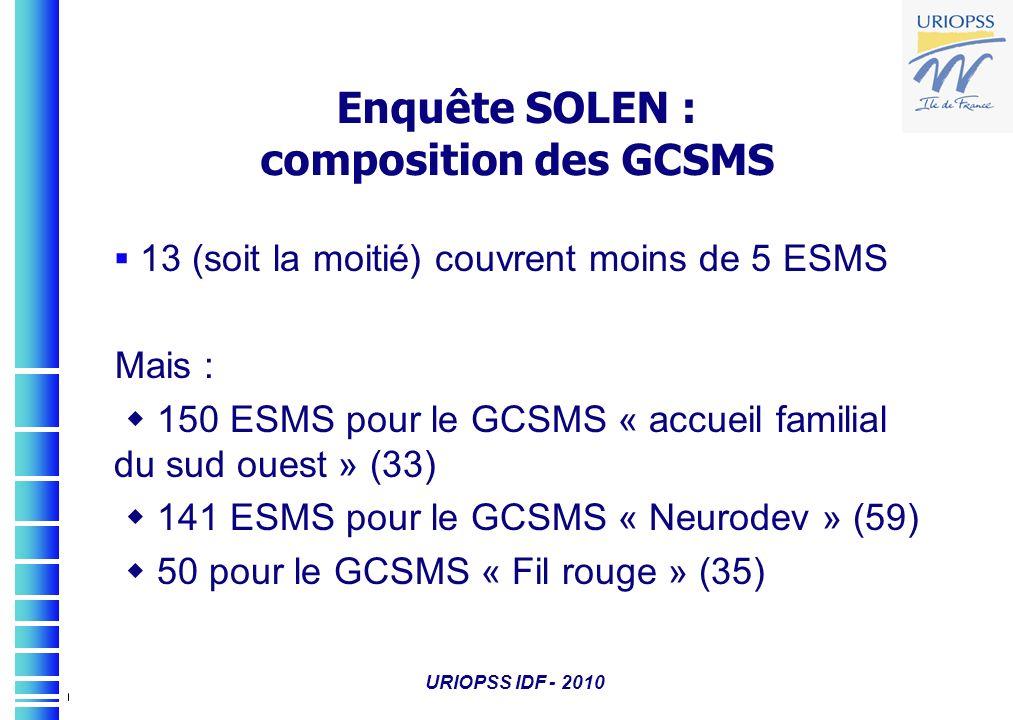 URIOPSS IDF - 2010 Enquête SOLEN : composition des GCSMS 13 (soit la moitié) couvrent moins de 5 ESMS Mais : 150 ESMS pour le GCSMS « accueil familial