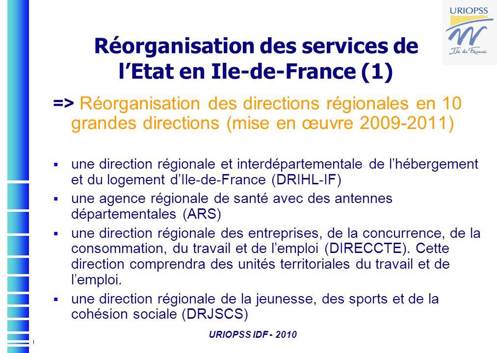 URIOPSS IDF - 2010 => Réorganisation des directions régionales en 10 grandes directions (mise en œuvre 2009-2011) une direction régionale et interdépa
