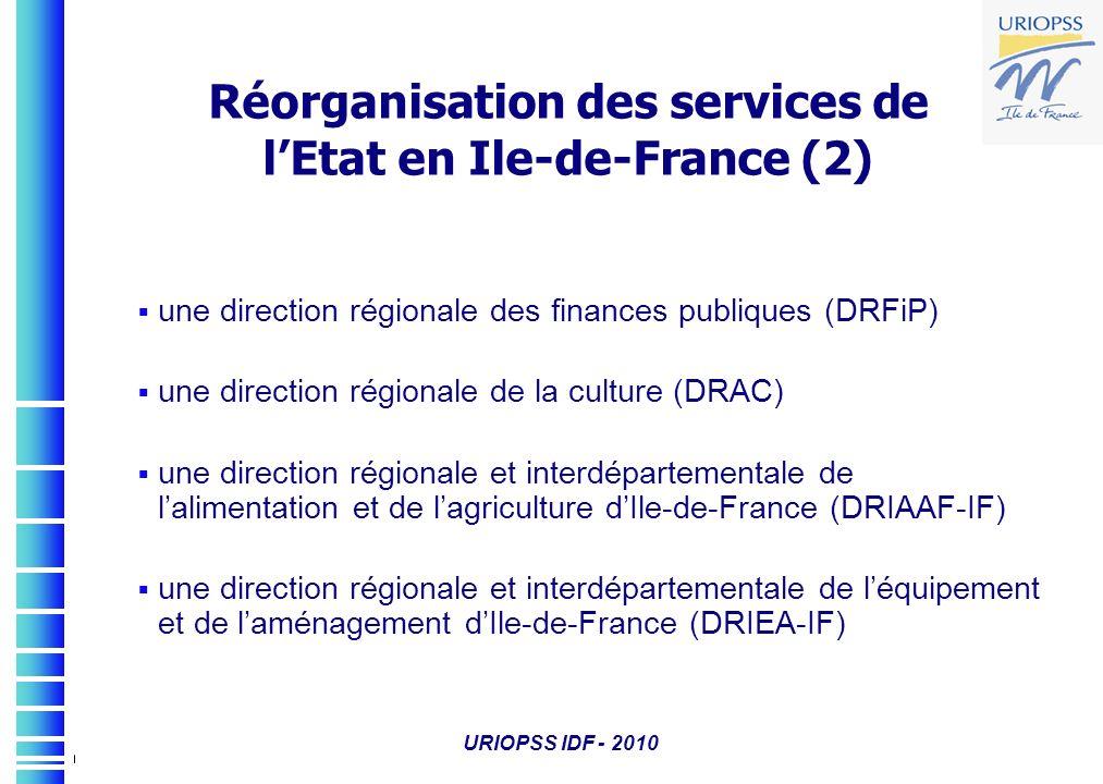 URIOPSS IDF - 2010 une direction régionale des finances publiques (DRFiP) une direction régionale de la culture (DRAC) une direction régionale et inte
