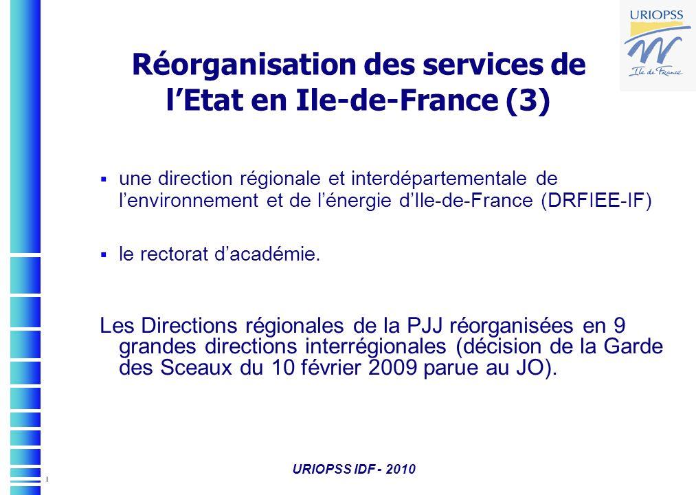 URIOPSS IDF - 2010 une direction régionale et interdépartementale de lenvironnement et de lénergie dIle-de-France (DRFIEE-IF) le rectorat dacadémie. L