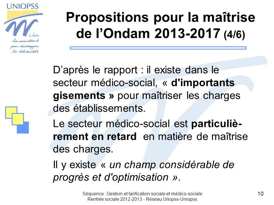 10 Propositions pour la maîtrise de lOndam 2013-2017 (4/6) Daprès le rapport : il existe dans le secteur médico-social, « d'importants gisements » pou