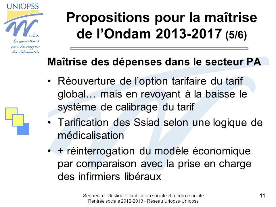 11 Propositions pour la maîtrise de lOndam 2013-2017 (5/6) Maîtrise des dépenses dans le secteur PA Réouverture de loption tarifaire du tarif global…