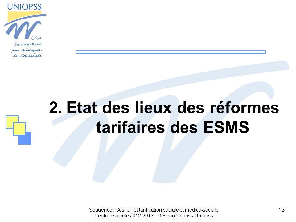 13 2.Etat des lieux des réformes tarifaires des ESMS Séquence : Gestion et tarification sociale et médico-sociale Rentrée sociale 2012-2013 - Réseau U
