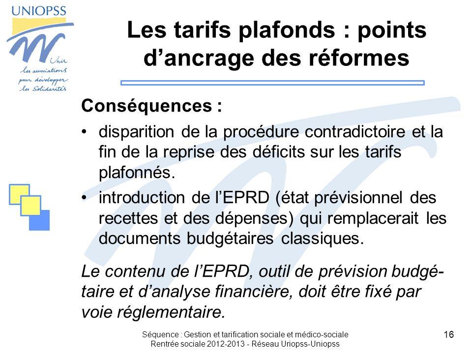 16 Les tarifs plafonds : points dancrage des réformes Conséquences : disparition de la procédure contradictoire et la fin de la reprise des déficits s