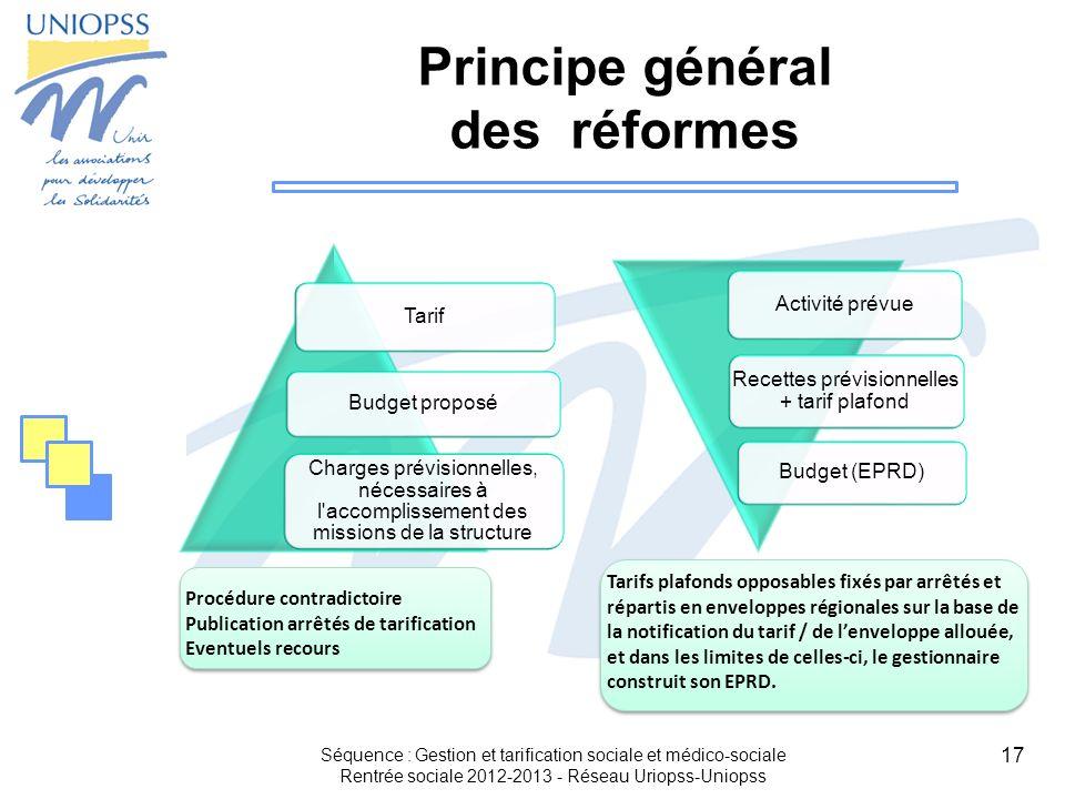 17 Principe général des réformes Séquence : Gestion et tarification sociale et médico-sociale Rentrée sociale 2012-2013 - Réseau Uriopss-Uniopss Tarif