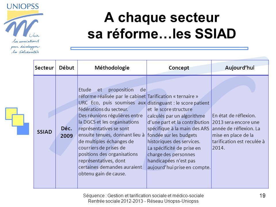 19 A chaque secteur sa réforme…les SSIAD SecteurDébutMéthodologieConceptAujourdhui SSIAD Déc. 2009 Etude et proposition de réforme réalisée par le cab