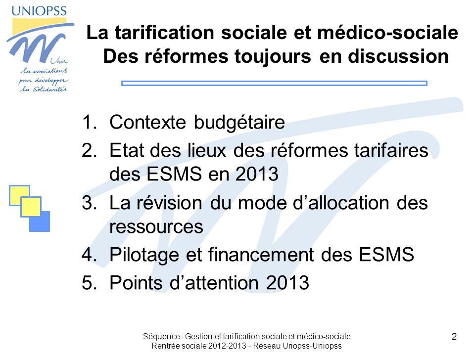 13 2.Etat des lieux des réformes tarifaires des ESMS Séquence : Gestion et tarification sociale et médico-sociale Rentrée sociale 2012-2013 - Réseau Uriopss-Uniopss