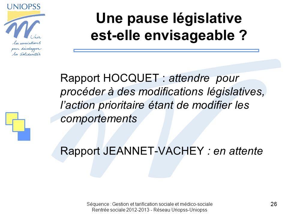 26 Une pause législative est-elle envisageable ? Rapport HOCQUET : attendre pour procéder à des modifications législatives, laction prioritaire étant