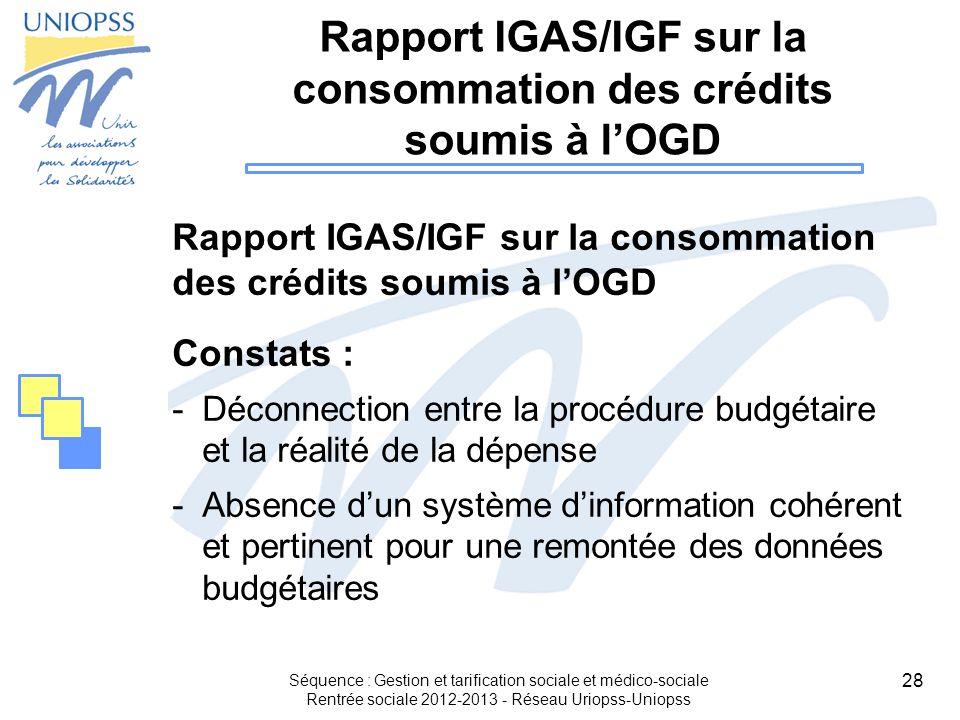 28 Séquence : Gestion et tarification sociale et médico-sociale Rentrée sociale 2012-2013 - Réseau Uriopss-Uniopss Rapport IGAS/IGF sur la consommatio