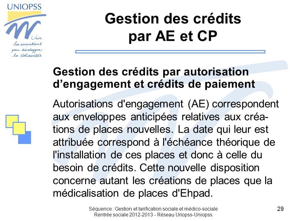 29 Séquence : Gestion et tarification sociale et médico-sociale Rentrée sociale 2012-2013 - Réseau Uriopss-Uniopss Gestion des crédits par AE et CP Ge