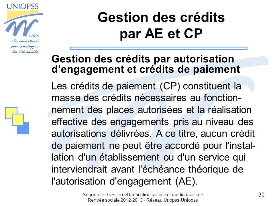 30 Séquence : Gestion et tarification sociale et médico-sociale Rentrée sociale 2012-2013 - Réseau Uriopss-Uniopss Gestion des crédits par AE et CP Ge