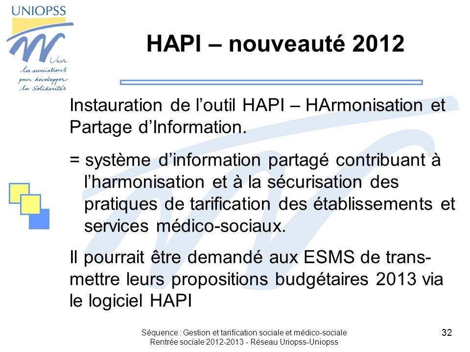 32 Séquence : Gestion et tarification sociale et médico-sociale Rentrée sociale 2012-2013 - Réseau Uriopss-Uniopss HAPI – nouveauté 2012 Instauration
