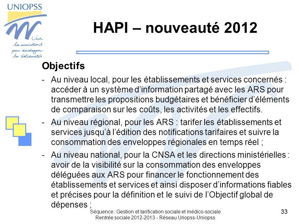 33 Séquence : Gestion et tarification sociale et médico-sociale Rentrée sociale 2012-2013 - Réseau Uriopss-Uniopss HAPI – nouveauté 2012 Objectifs -Au