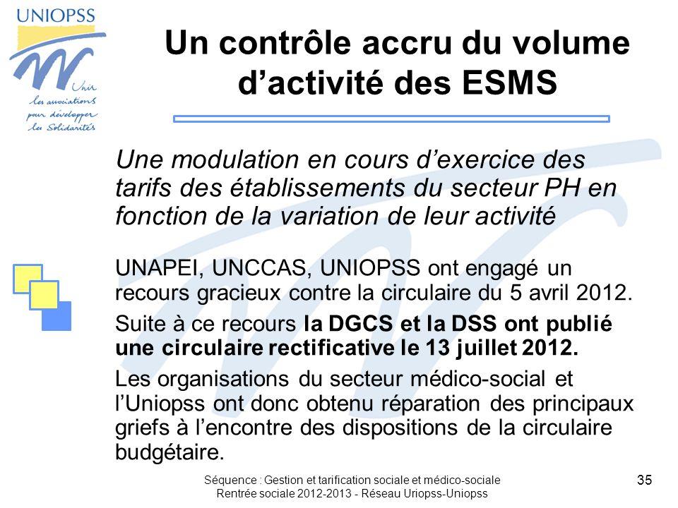 35 Séquence : Gestion et tarification sociale et médico-sociale Rentrée sociale 2012-2013 - Réseau Uriopss-Uniopss Un contrôle accru du volume dactivi
