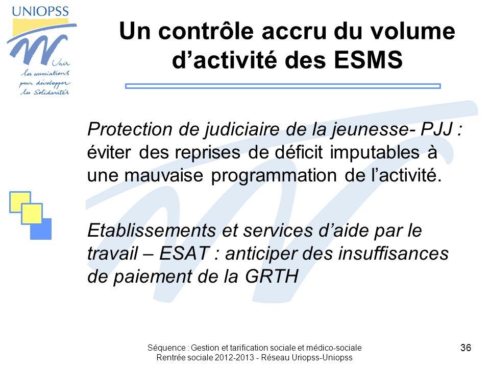 36 Séquence : Gestion et tarification sociale et médico-sociale Rentrée sociale 2012-2013 - Réseau Uriopss-Uniopss Un contrôle accru du volume dactivi