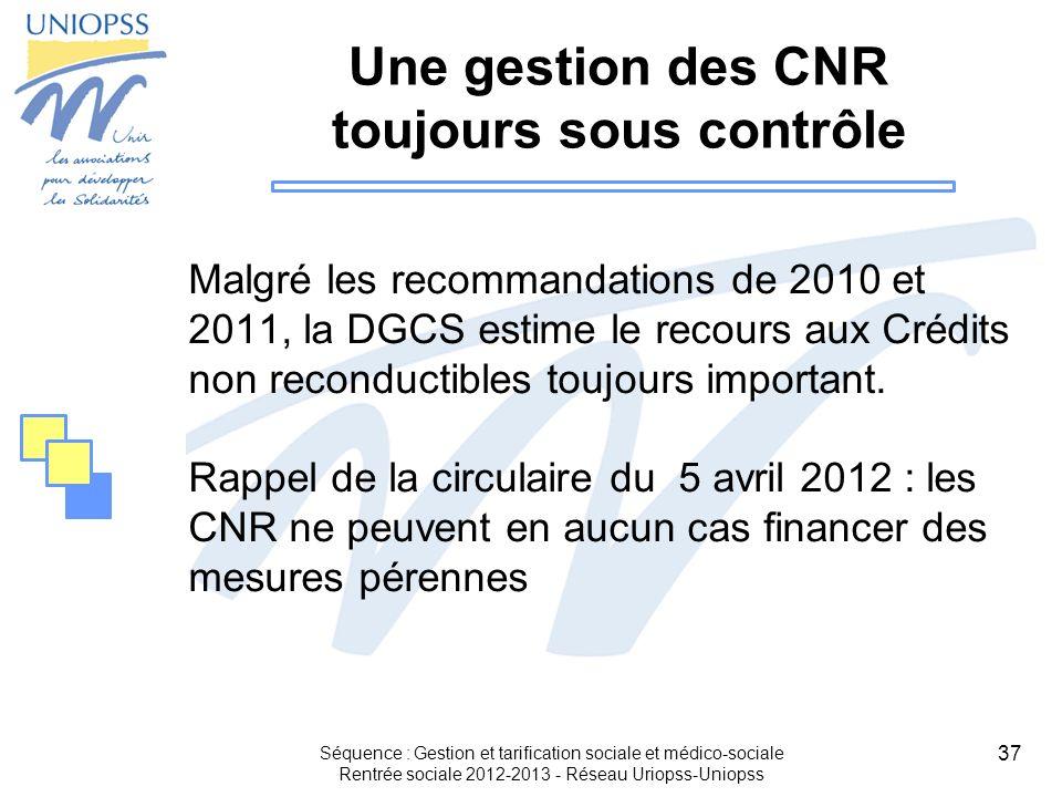 37 Une gestion des CNR toujours sous contrôle Malgré les recommandations de 2010 et 2011, la DGCS estime le recours aux Crédits non reconductibles tou