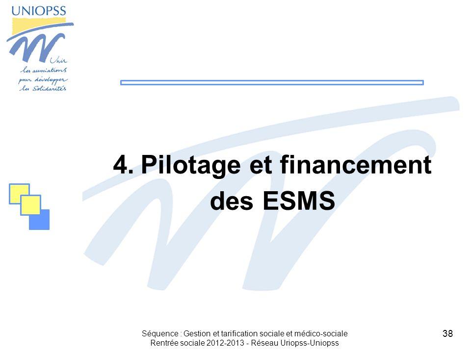 38 4.Pilotage et financement des ESMS Séquence : Gestion et tarification sociale et médico-sociale Rentrée sociale 2012-2013 - Réseau Uriopss-Uniopss