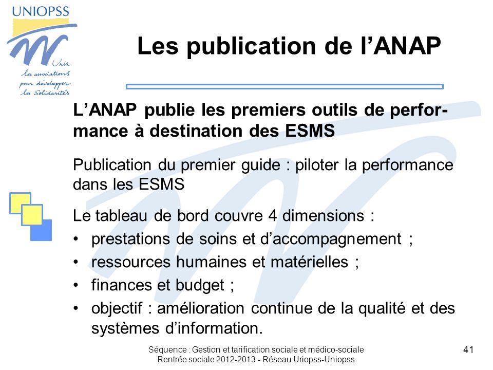41 Les publication de lANAP LANAP publie les premiers outils de perfor- mance à destination des ESMS Publication du premier guide : piloter la perform