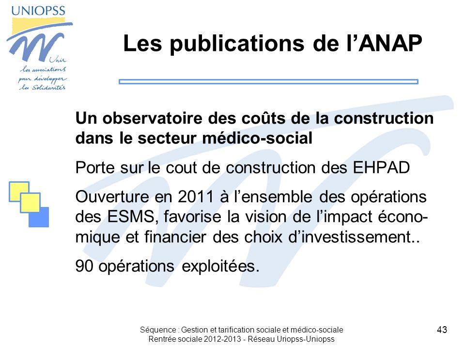 43 Les publications de lANAP Un observatoire des coûts de la construction dans le secteur médico-social Porte sur le cout de construction des EHPAD Ou