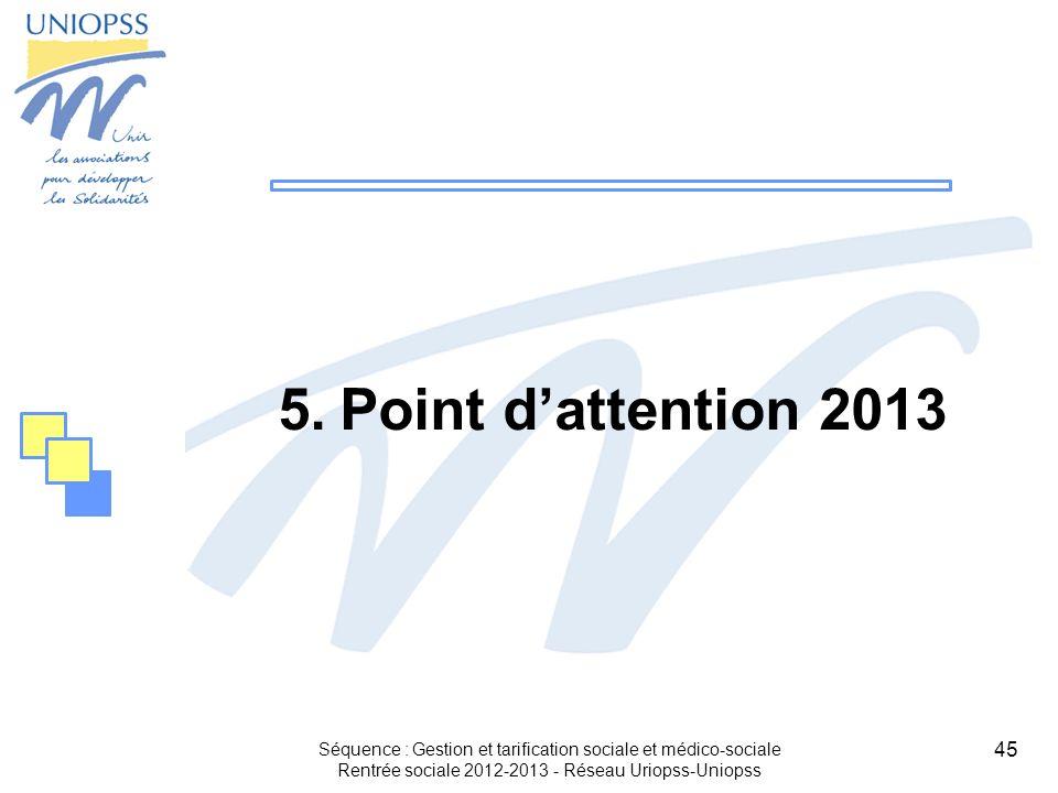 45 Séquence : Gestion et tarification sociale et médico-sociale Rentrée sociale 2012-2013 - Réseau Uriopss-Uniopss 5.Point dattention 2013