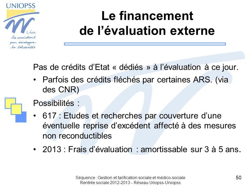 50 Le financement de lévaluation externe Pas de crédits dEtat « dédiés » à lévaluation à ce jour. Parfois des crédits fléchés par certaines ARS. (via